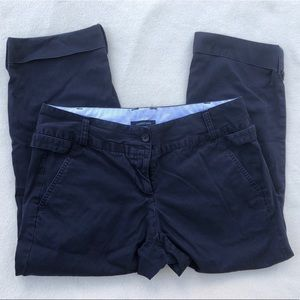 Lands' End roll cuff cropped navy pants size 8